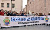 Los agricultores de Archena apoyados por su alcaldesa y concejales del Equipo de Gobierno participan en Murcia en la multitudinaria manifestación del campo y la huerta