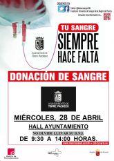 DONACIÓN DE SANGRE. Ayuntamiento de Torre Pacheco - 28 abril