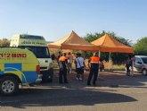Protección Civil apoya logísticamente, en el Centro de Salud Totana Sur, donde se ha instalado un Punto COVID19 para realizar pruebas PCR a los clientes del local cerrado