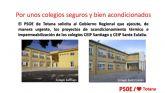 El PSOE de Totana solicita al Gobierno Regional que ejecute, de manera urgente, los proyectos de acondicionamiento térmico e impermeabilización de los colegios CEIP Santiago y CEIP Santa Eulalia