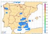 Temporal de lluvia y viento en España en los próximos días. Lluvia débil y viento fuerte en la Región de Murcia