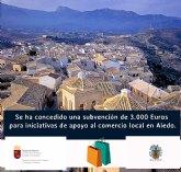 El Ayuntamiento de Aledo ha recibido 3.000 euros de una subvención para apoyo al comercio local