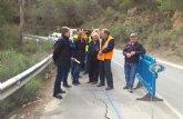 Comienzan las obras de emergencia para reparar el firme y construir un muro en la carretera que une Alhama de Murcia con Pliego