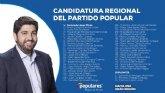 López Miras presenta una lista electoral renovada formada por 'personas con valores y una trayectoria reconocida para ganar el 26M'