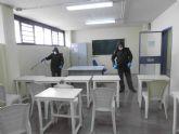 Cinco unidades de la Legión desinfectan todas las dependencias del Centro Penitenciario Murcia II