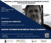 Luis Molina Temboury cierra las Jornadas de videoconferencias Poscovid-19, afrontar el futuro de las ciudades en claves de Participación Ciudadana en Molina de Segura el jueves 25 de junio