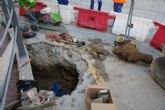 Obras de sustituci�n de las viejas redes de agua potable en la zona de la rambla D. Diego