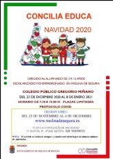 La Concejalía de Igualdad de Molina de Segura abre el plazo de inscripción para el Servicio Concilia Educa Navidad 2020
