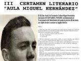 Abierto el plazo de presentacion de obras para el III Certamen Literario Aula Miguel Hernandez
