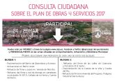El Plan de Obras y Servicios 2017 se abre a la participación ciudadana