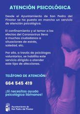 El Ayuntamiento de San Pedro del Pinatar habilita un servicio de atención psicológica durante el confinamiento