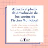 Abierto el plazo de devolución de las cuotas de Piscina Municipal
