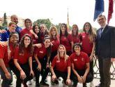 Las campeonas del CAP Ciudad de Murcia llevan al Ayuntamiento su ascenso a la segunda división femenina de fútbol