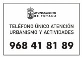 La Concejalía de Urbanismo y Actividades fija el teléfono único de atención 968 41 81 89 a partir del próximo lunes