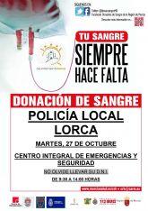 Policía Local de Lorca y el Servicio de Emergencias Municipal y Protección Civil organizan una donación de sangre en colaboración con el Centro Regional de Hemodonación