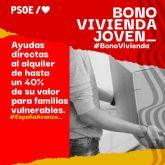 'Las medidas del Gobierno de Espa�a, de ayudas para alquilar una vivienda y el bono cultural, van a beneficiar hasta un total de 7.000 j�venes de Totana'