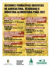 Acciones formativas gratuitas de agricultura, seguridad e industria alimentaria para 2021