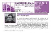 El encuentro con Luis García Montero en el Ciclo Escritores en su tinta 2018 de Molina de Segura cambia de fecha y se traslada al jueves 10 de mayo