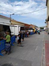 El mercadillo semanal de La Algaida ya funciona al 90 por cien de su extensión habitual con todas las garantías de prevención