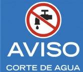 Se interrumpirá el suministro de agua potable mañana jueves, por trabajos de reparación, en Las Lomas del Paretón, Los López, Los Andreos, Los Guardianes y Caserío del Raiguero