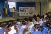 Almudena Cid, ex gimnasta olímpica, visita el colegio de San Pedro del Pinatar, New Castelar College