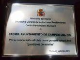 El gobierno de España distingue al Excmo. Ayuntamiento de Campos del Río por su aportación altruista al Proyecto Guardianes de Semillas de los Templarios de Jumilla en la cárcel campera