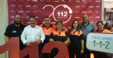 Autoridades municipales y voluntarios de Protección Civil en Totana participan en el acto del vigésimo aniversario del 112