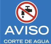 Este miércoles 29 de mayo quedará interrumpido el suministro de agua, con una duración de 24 horas, en distintos núcleos rurales de las pedanías bajas