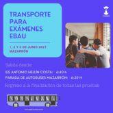 El ayuntamiento habilita autobuses para los exámenes de la EBAU los días 1, 2 y 3 de junio