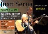 El cantautor murciano Juan Serna ofrecerá un concierto en la Casa de la Cultura 'Pedro Serna'
