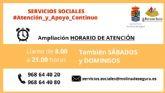 La Concejalía de Bienestar Social de Molina de Segura recuerda que amplía su horario de atención a fines de semana durante el estado de alarma por el COVID-19