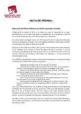 Valoración del Pleno Ordinario del 24 de septiembre de 2021. IU-verdes Alhama de Murcia