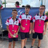 Antonio García, Cristian Pozuelo y Jonathan Ould, del club La Salceda, bronce en el nacional juvenil de petanca
