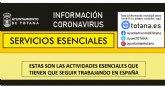 Servicios Esenciales. Estas son las actividades esenciales que tienen que seguir trabajando en España
