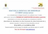 Abierto el plazo de solicitud para la prueba de clasificaci�n de la Escuela Oficial de Idiomas curso 2020-2021
