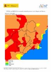 El riesgo de incendio forestal en Cieza es muy alto este miércoles