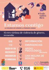 La Concejalía de Igualdad y Violencia de Género de Molina de Segura se adhiere a la campaña nacional ESTAMOS CONTIGO, la Violencia de Género la paramos unidas