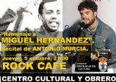 El Centro Cultural y Obrero organiza un concierto-homenaje a Miguel Hernández con motivo del aniversario de su nacimiento
