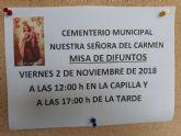 La Misa de Difuntos se celebra el próximo 2 de noviembre en el Cementerio Municipal 'Nuestra Señora del Carmen' de Totana