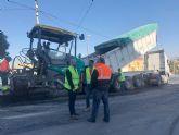 Avanzan las obras de refuerzo de firme de la carretera que conecta Murcia con San Javier, a través del Cabezo de la Plata