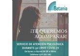 Betania presta apoyo psicológico a través de sus profesionales