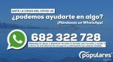 El PP de Águilas recuerda su número de WhatsApp para escuchar y orientar a los aguileños ante la crisis del COVID-19