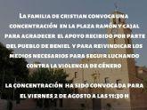 La familia de Cristian ha convocado una concentración en la plaza Ramón y Cajal